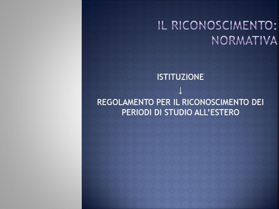 ISTITUZIONE REGOLAMENTO PER IL RICONOSCIMENTO DEI PERIODI DI STUDIO ALLESTERO