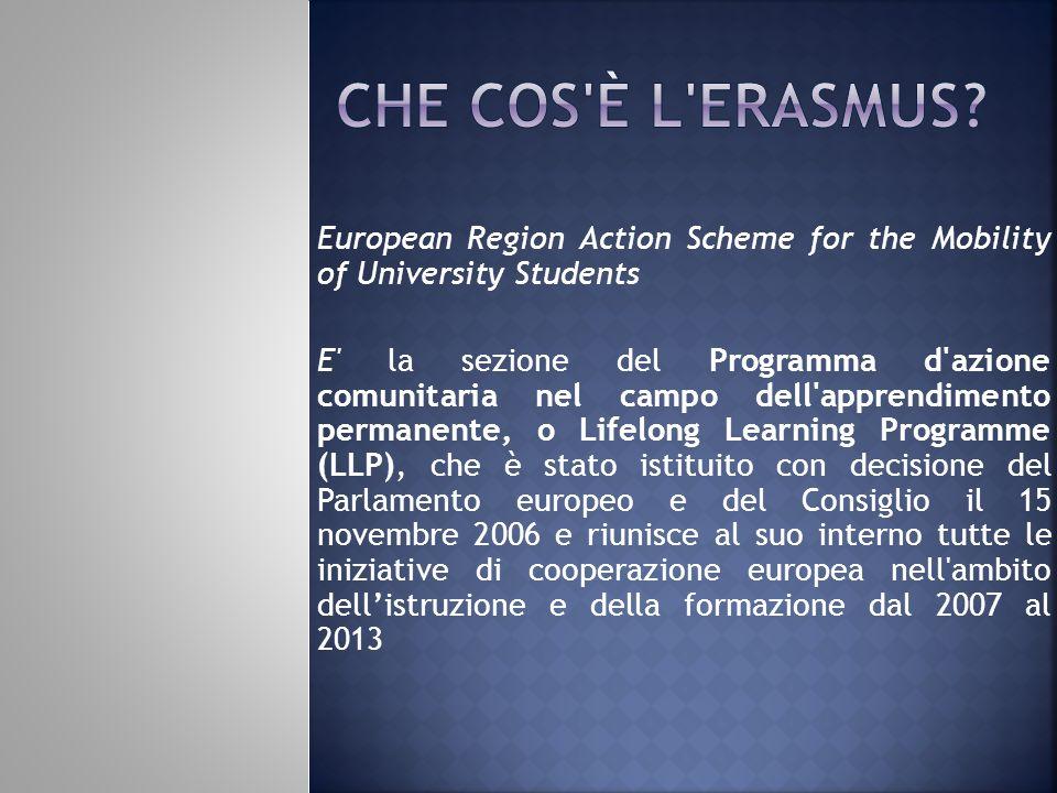 European Region Action Scheme for the Mobility of University Students E' la sezione del Programma d'azione comunitaria nel campo dell'apprendimento pe