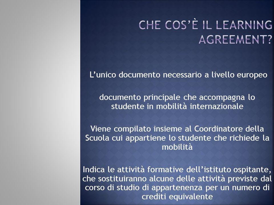 Lunico documento necessario a livello europeo documento principale che accompagna lo studente in mobilità internazionale Viene compilato insieme al Co