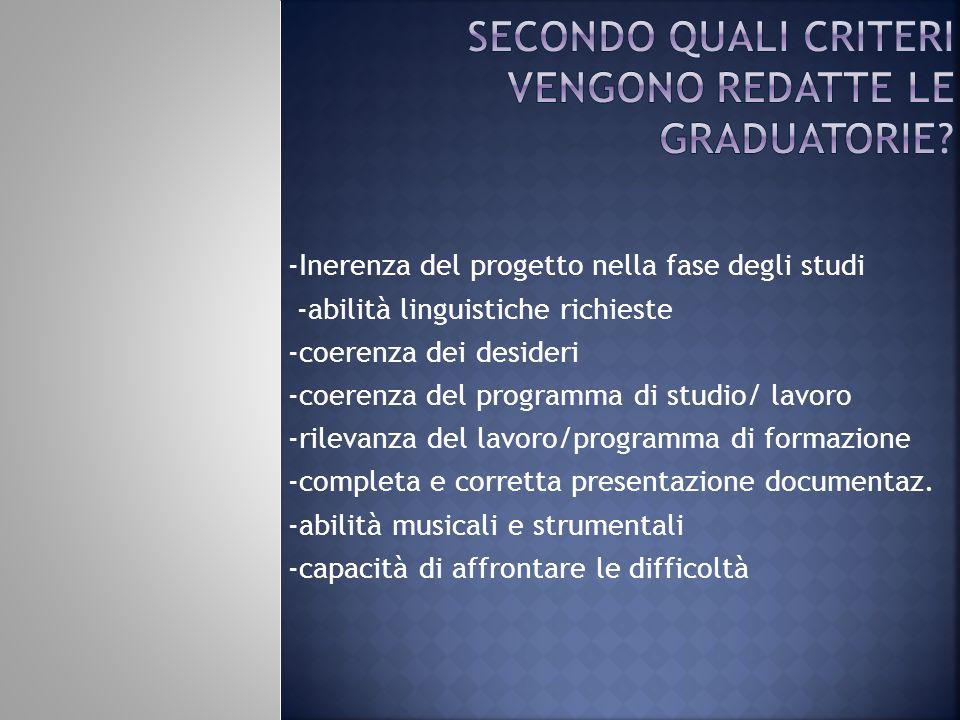 -Inerenza del progetto nella fase degli studi -abilità linguistiche richieste -coerenza dei desideri -coerenza del programma di studio/ lavoro -rileva