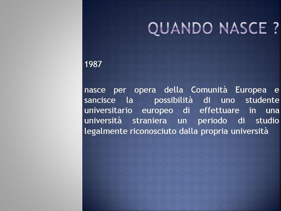 1987 nasce per opera della Comunità Europea e sancisce la possibilità di uno studente universitario europeo di effettuare in una università straniera