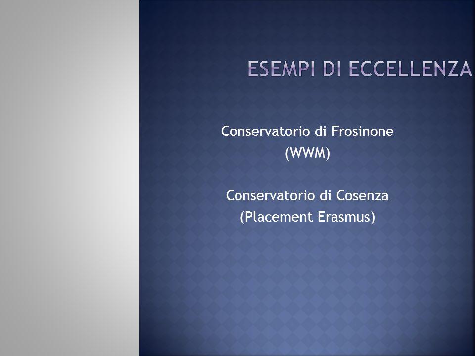 Conservatorio di Frosinone (WWM) Conservatorio di Cosenza (Placement Erasmus)