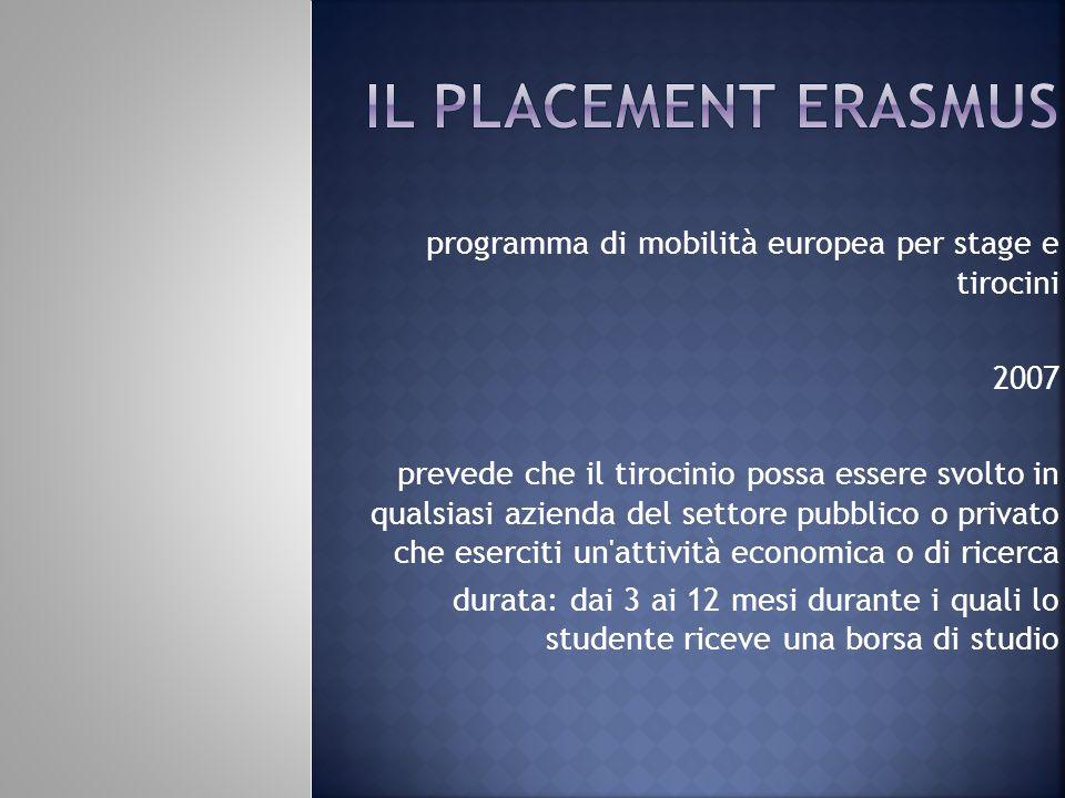 programma di mobilità europea per stage e tirocini 2007 prevede che il tirocinio possa essere svolto in qualsiasi azienda del settore pubblico o priva