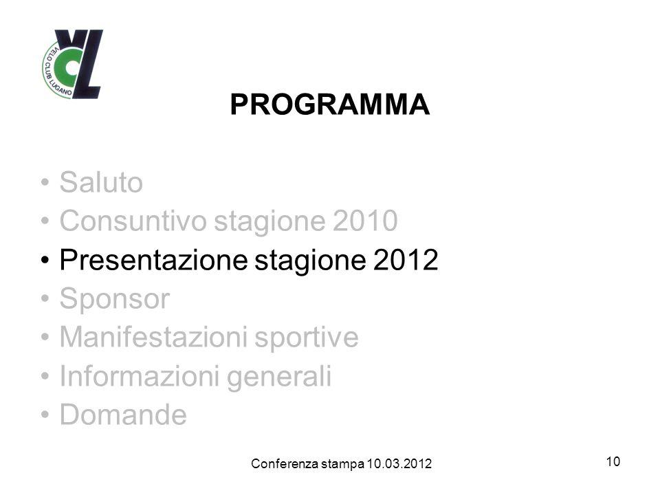 PROGRAMMA Saluto Consuntivo stagione 2010 Presentazione stagione 2012 Sponsor Manifestazioni sportive Informazioni generali Domande 10 Conferenza stampa 10.03.2012
