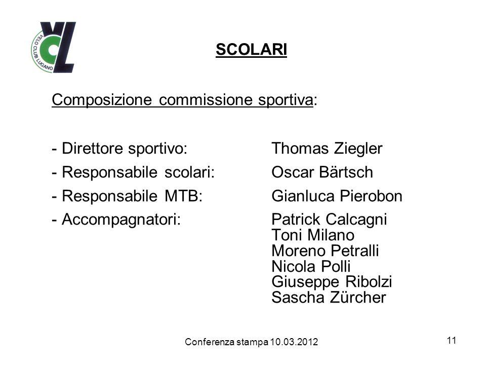 SCOLARI Composizione commissione sportiva: - Direttore sportivo:Thomas Ziegler - Responsabile scolari:Oscar Bärtsch - Responsabile MTB:Gianluca Pierob