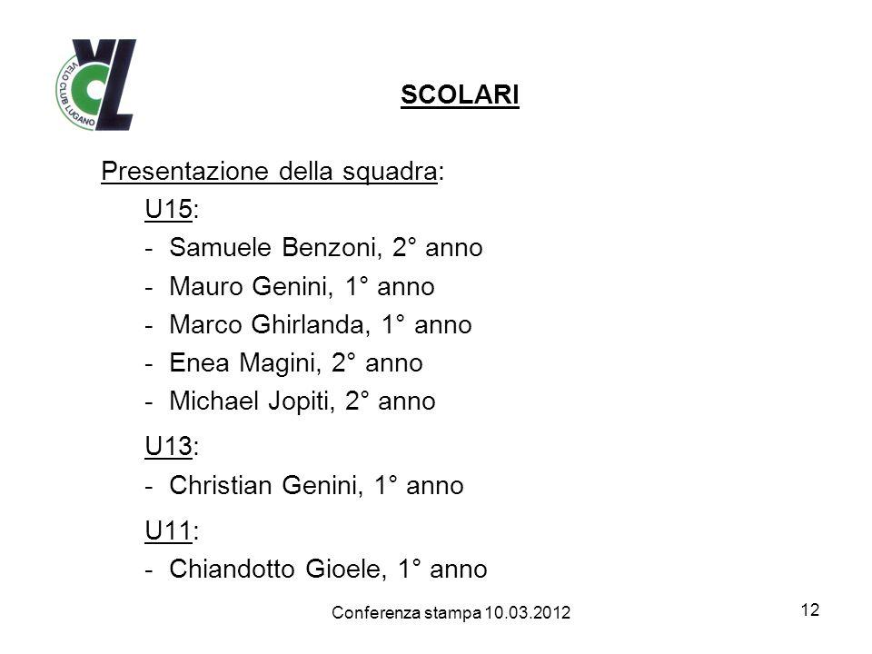 SCOLARI Presentazione della squadra: U15: -Samuele Benzoni, 2° anno -Mauro Genini, 1° anno -Marco Ghirlanda, 1° anno -Enea Magini, 2° anno -Michael Jo