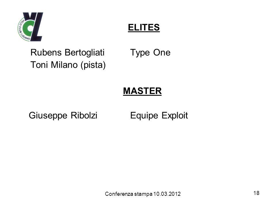 ELITES Rubens Bertogliati Type One Toni Milano (pista) MASTER Giuseppe RibolziEquipe Exploit 18 Conferenza stampa 10.03.2012