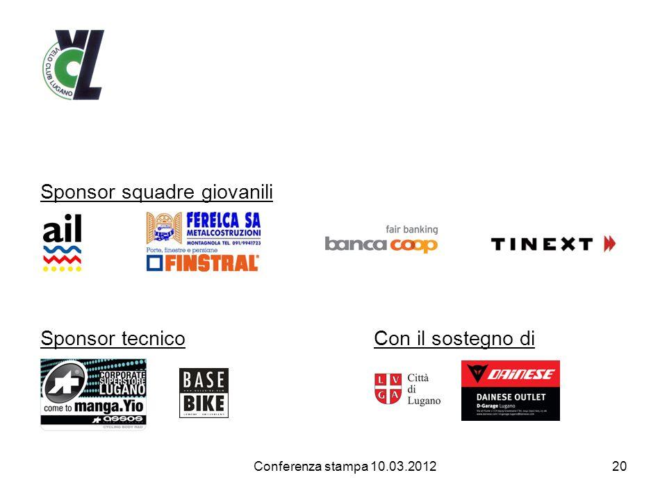 Sponsor squadre giovanili Sponsor tecnicoCon il sostegno di 20 Conferenza stampa 10.03.2012