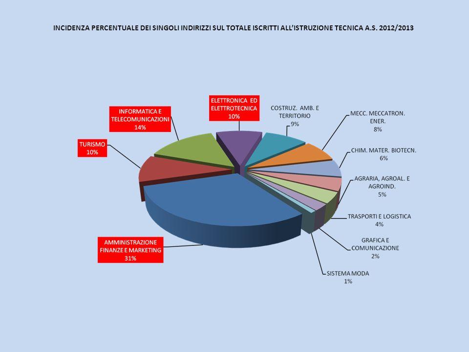 INCIDENZA PERCENTUALE DEI SINGOLI INDIRIZZI SUL TOTALE ISCRITTI ALLISTRUZIONE TECNICA A.S. 2012/2013