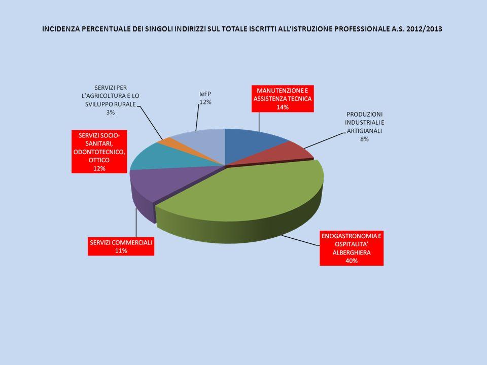 INCIDENZA PERCENTUALE DEI SINGOLI INDIRIZZI SUL TOTALE ISCRITTI ALLISTRUZIONE PROFESSIONALE A.S.
