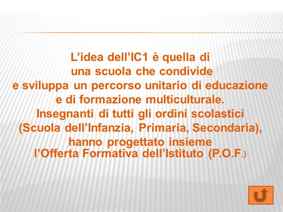 Lidea dellIC1 è quella di una scuola che condivide e sviluppa un percorso unitario di educazione e di formazione multiculturale. Insegnanti di tutti g