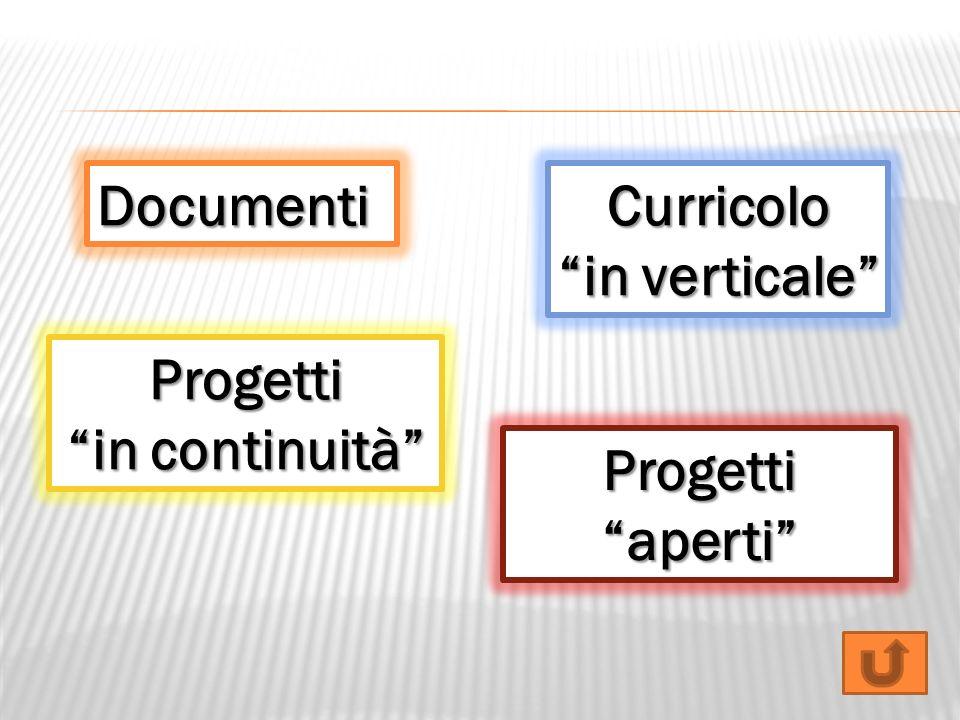 DocumentiCurricolo in verticale Progetti in continuità Progettiaperti