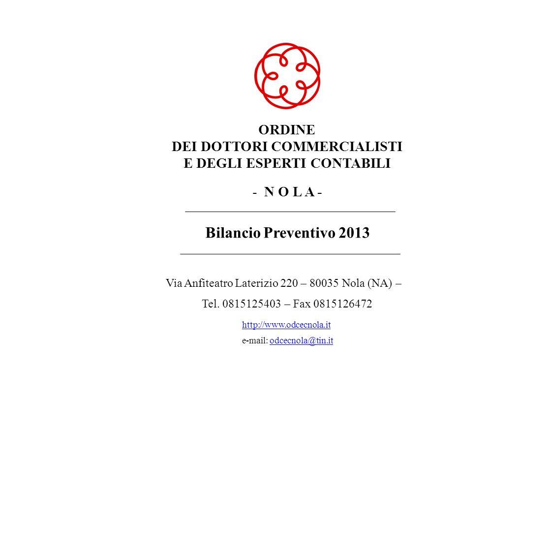 ORDINE DEI DOTTORI COMMERCIALISTI E DEGLI ESPERTI CONTABILI DI NOLA Bilancio Preventivo Finanziario Esercizio 2013 SPESA Avanzo di Cassa 469,04 Totale a pareggio 566.063,20514.135,0021.040,0072.968,20 714.277,69 199.673,65 30/10/2012 - 13.31.26Pagina: 9 Capitolo Residui passivi presunti all anno 2012 Previsioni definitive dell anno 2012 Previsioni di competenza dell anno 2013 Previsioni di cassa per l anno 2013 CodiceN.DenominazioneV a r i a z i o n iV a r i a z i o n iSomme risultanti In aumentoIn diminuzione