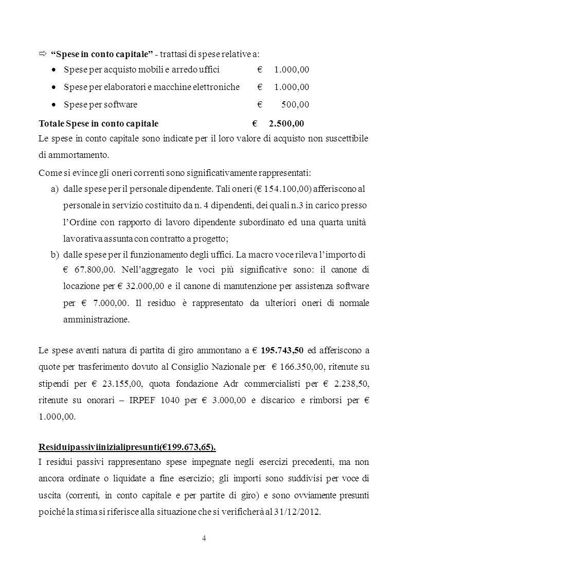 4 Spese in conto capitale - trattasi di spese relative a: Totale Spese in conto capitale 2.500,00 Le spese in conto capitale sono indicate per il loro
