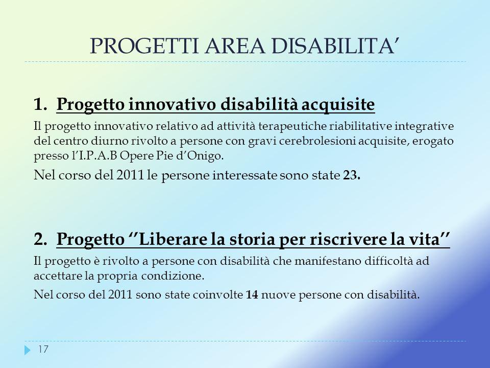 PROGETTI AREA DISABILITA 1. Progetto innovativo disabilità acquisite Il progetto innovativo relativo ad attività terapeutiche riabilitative integrativ