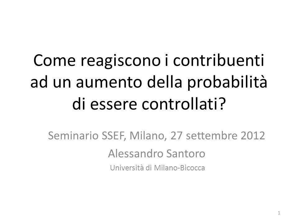 Sintesi 1.Probabilità dei controlli ed evasione nei modelli economici 2.I problemi della verifica empirica e la letteratura precedente 3.Unapplicazione agli studi di settore 2