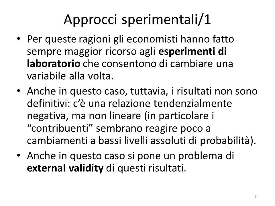 Approcci sperimentali/1 Per queste ragioni gli economisti hanno fatto sempre maggior ricorso agli esperimenti di laboratorio che consentono di cambiare una variabile alla volta.