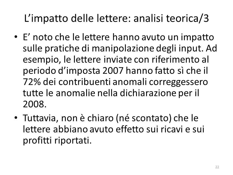 Limpatto delle lettere: analisi teorica/3 E noto che le lettere hanno avuto un impatto sulle pratiche di manipolazione degli input.