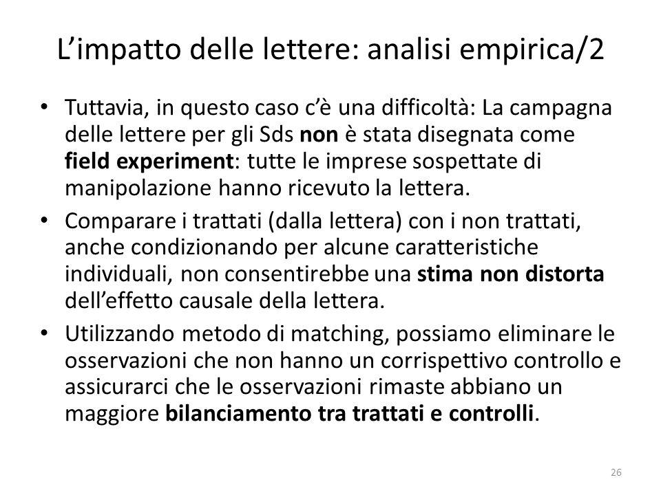 Limpatto delle lettere: analisi empirica/2 Tuttavia, in questo caso cè una difficoltà: La campagna delle lettere per gli Sds non è stata disegnata come field experiment: tutte le imprese sospettate di manipolazione hanno ricevuto la lettera.