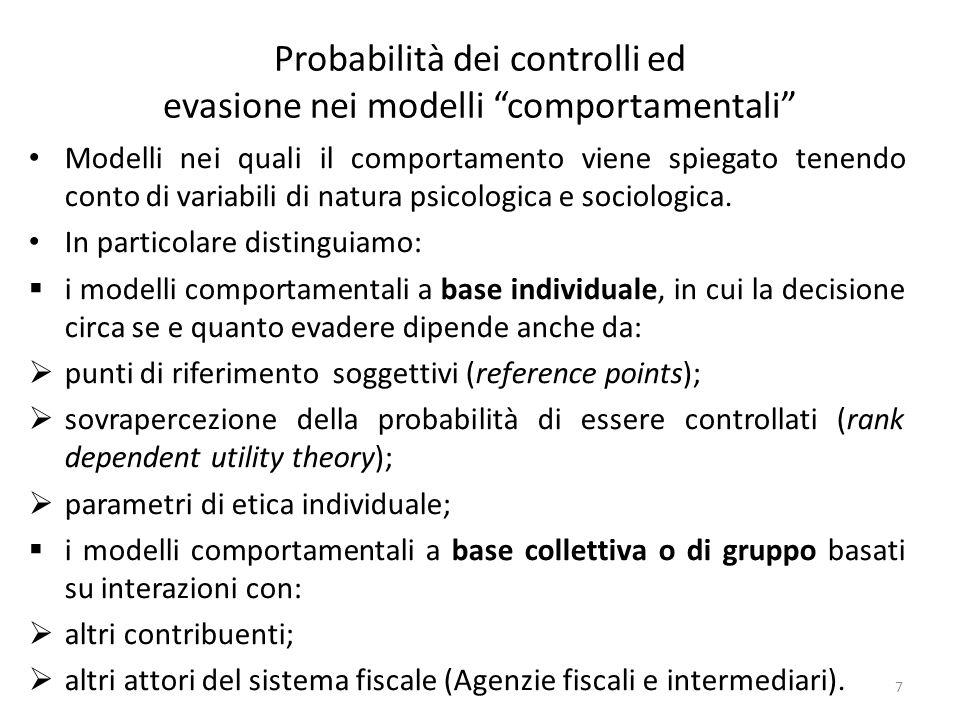 Probabilità dei controlli ed evasione nei modelli comportamentali Poiché il comportamento è più complesso, il ruolo della probabilità in questi modelli è meno evidente.