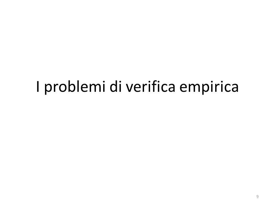 I problemi di verifica empirica 9