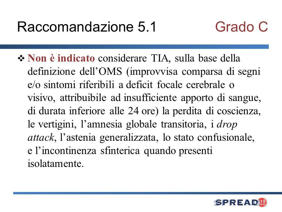 Raccomandazione 5.1Grado C Non è indicato considerare TIA, sulla base della definizione dellOMS (improvvisa comparsa di segni e/o sintomi riferibili a