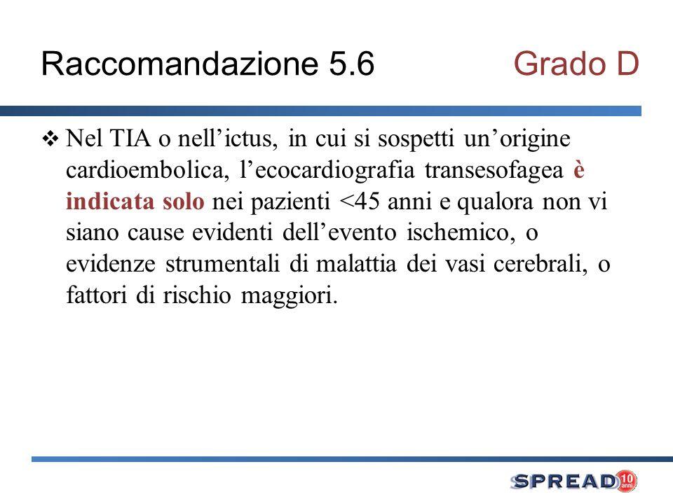 Raccomandazione 5.6Grado D Nel TIA o nellictus, in cui si sospetti unorigine cardioembolica, lecocardiografia transesofagea è indicata solo nei pazien