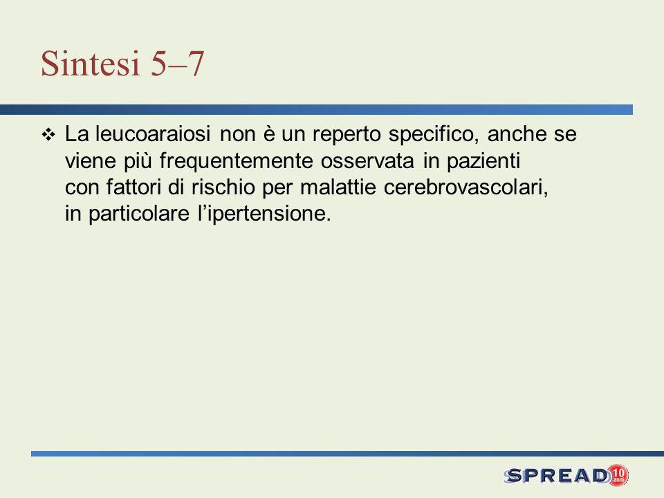 Sintesi 5–7 La leucoaraiosi non è un reperto specifico, anche se viene più frequentemente osservata in pazienti con fattori di rischio per malattie ce