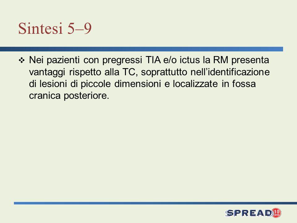 Sintesi 5–9 Nei pazienti con pregressi TIA e/o ictus la RM presenta vantaggi rispetto alla TC, soprattutto nellidentificazione di lesioni di piccole d