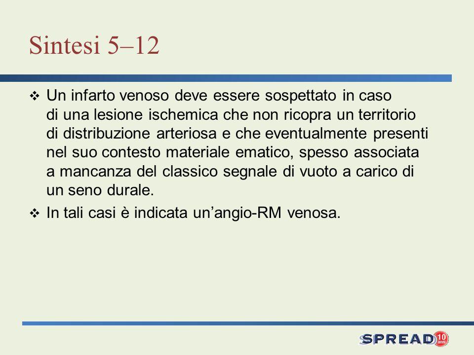 Sintesi 5–12 Un infarto venoso deve essere sospettato in caso di una lesione ischemica che non ricopra un territorio di distribuzione arteriosa e che
