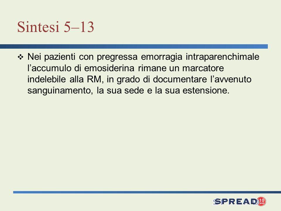 Sintesi 5–13 Nei pazienti con pregressa emorragia intraparenchimale laccumulo di emosiderina rimane un marcatore indelebile alla RM, in grado di docum