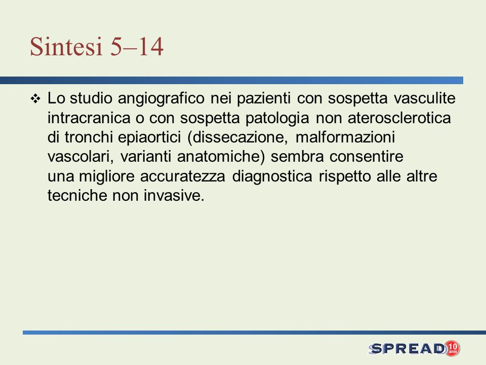 Raccomandazione 5.8Grado D Langiografia del circolo intracranico rappresenta il gold standard per lo studio della patologia aneurismatica cerebrale responsabile di emorragia subaracnoidea.