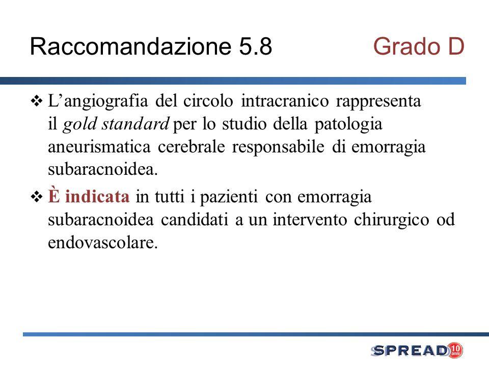 Raccomandazione 5.8Grado D Langiografia del circolo intracranico rappresenta il gold standard per lo studio della patologia aneurismatica cerebrale re