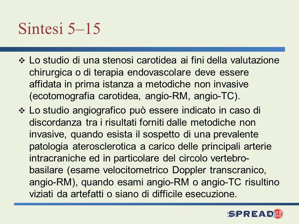 Sintesi 5–15 Lo studio di una stenosi carotidea ai fini della valutazione chirurgica o di terapia endovascolare deve essere affidata in prima istanza