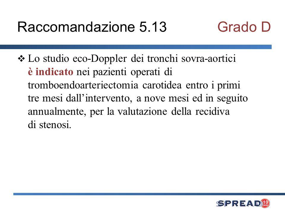 Raccomandazione 5.13Grado D Lo studio eco-Doppler dei tronchi sovra-aortici è indicato nei pazienti operati di tromboendoarteriectomia carotidea entro