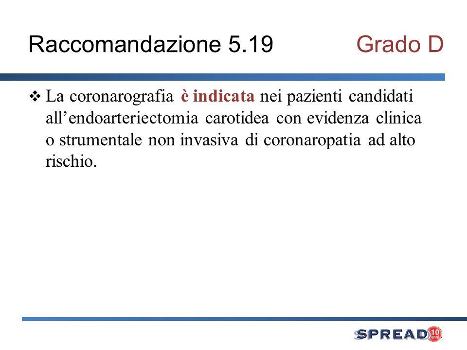 Raccomandazione 5.20Grado D Nei pazienti candidati ad endoarteriectomia carotidea con associata grave coronaropatia è indicato far precedere la rivascolarizzazione coronarica, pur potendo i due interventi anche essere effettuati simultaneamente.