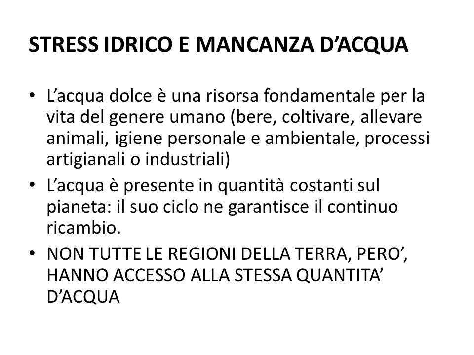 STRESS IDRICO E MANCANZA DACQUA Lacqua dolce è una risorsa fondamentale per la vita del genere umano (bere, coltivare, allevare animali, igiene person