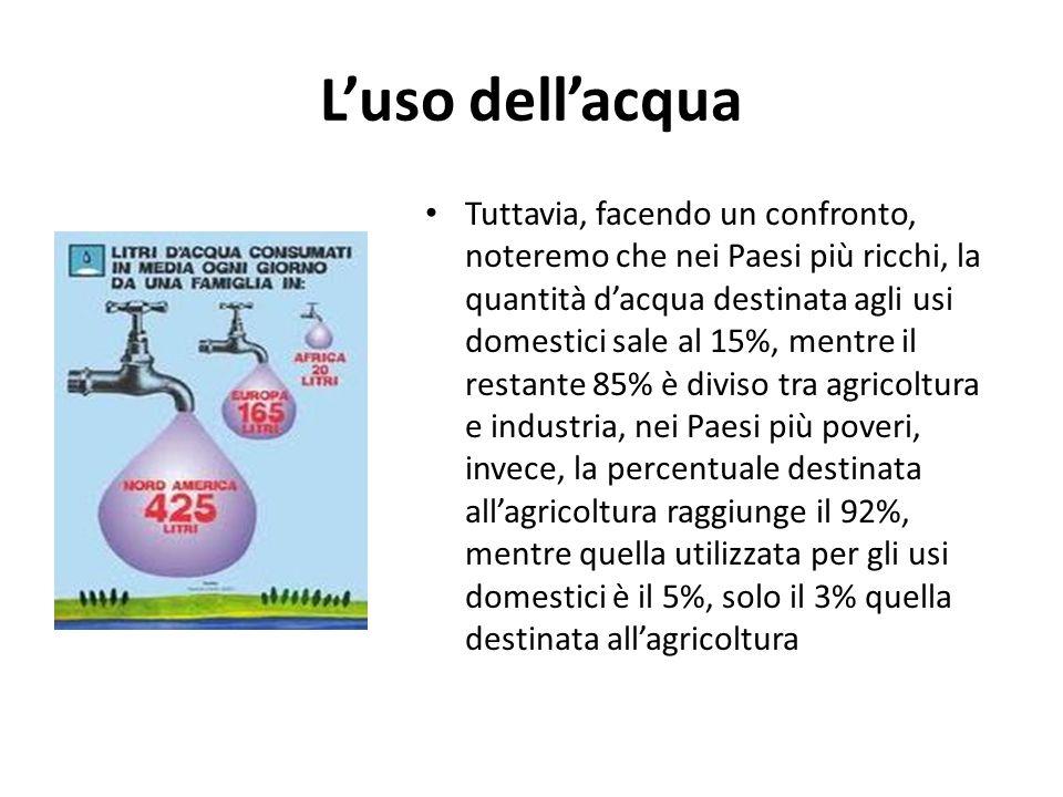 Luso dellacqua Tuttavia, facendo un confronto, noteremo che nei Paesi più ricchi, la quantità dacqua destinata agli usi domestici sale al 15%, mentre