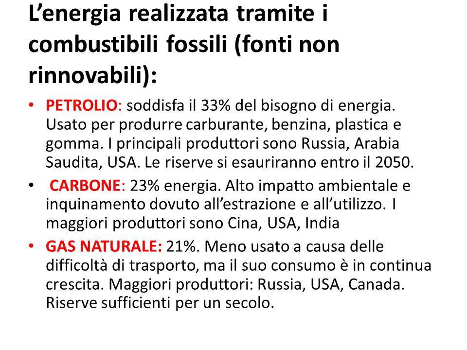 Lenergia realizzata tramite i combustibili fossili (fonti non rinnovabili): PETROLIO: soddisfa il 33% del bisogno di energia. Usato per produrre carbu