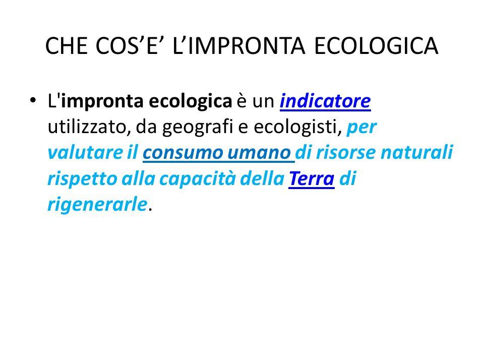 CHE COSE LIMPRONTA ECOLOGICA L'impronta ecologica è un indicatore utilizzato, da geografi e ecologisti, per valutare il consumo umano di risorse natur