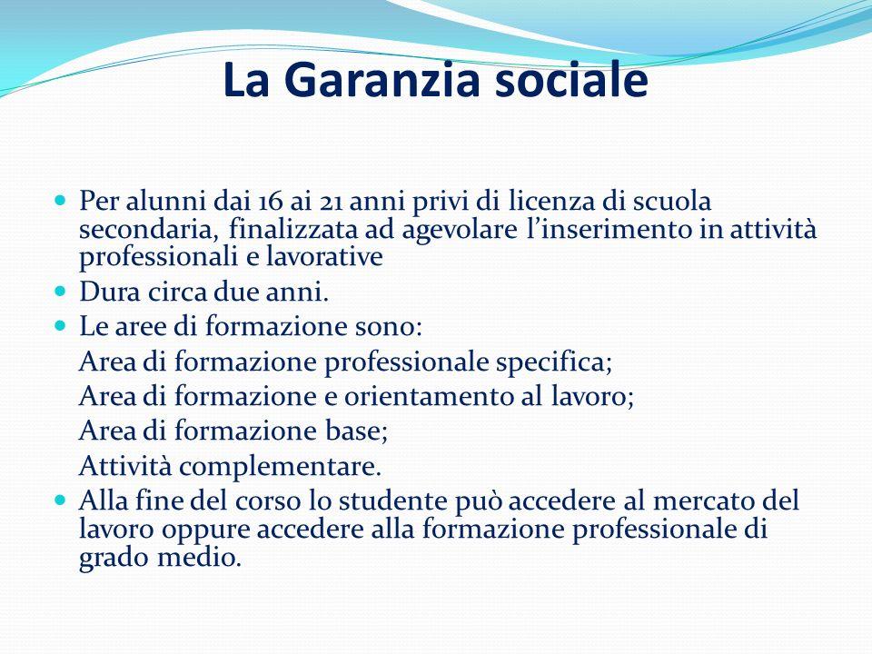La Garanzia sociale Per alunni dai 16 ai 21 anni privi di licenza di scuola secondaria, finalizzata ad agevolare linserimento in attività professionali e lavorative Dura circa due anni.