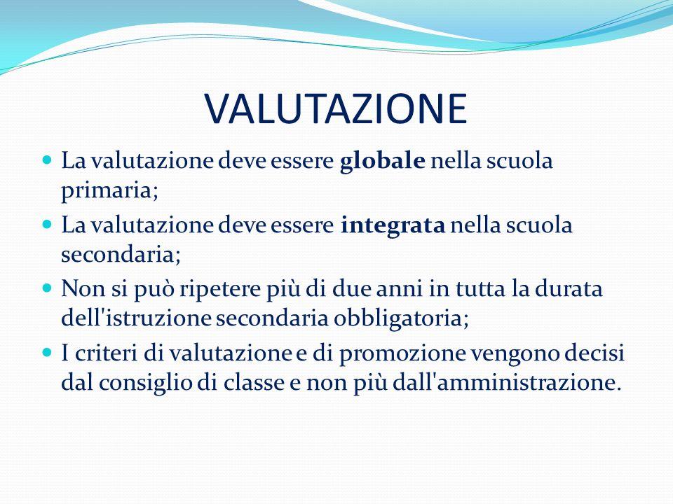 VALUTAZIONE La valutazione deve essere globale nella scuola primaria; La valutazione deve essere integrata nella scuola secondaria; Non si può ripeter