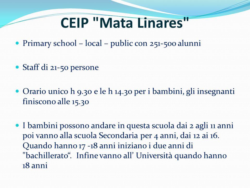 CEIP Mata Linares Primary school – local – public con 251-500 alunni Staff di 21-50 persone Orario unico h 9.30 e le h 14.30 per i bambini, gli insegnanti finiscono alle 15.30 I bambini possono andare in questa scuola dai 2 agli 11 anni poi vanno alla scuola Secondaria per 4 anni, dai 12 ai 16.
