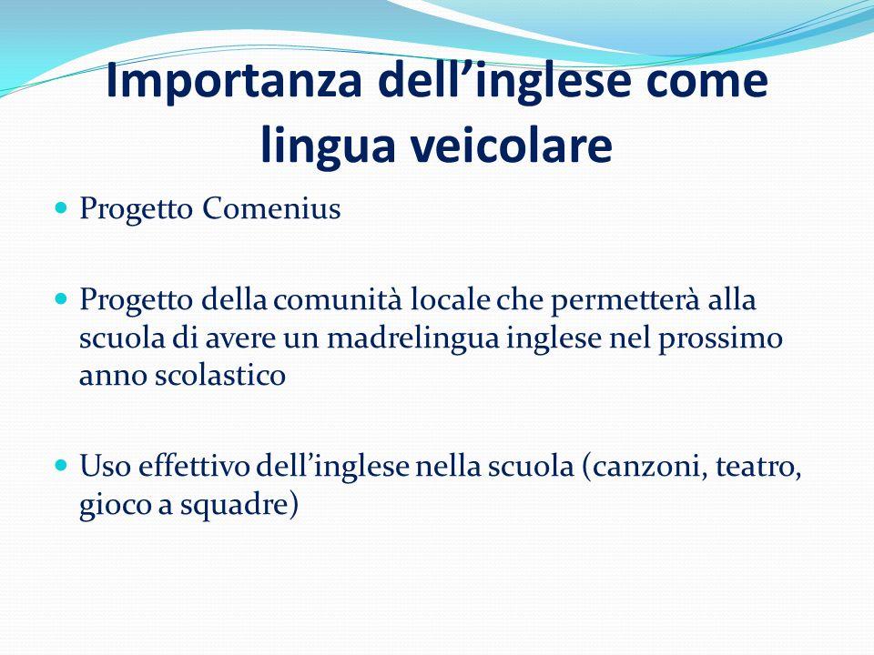 Importanza dellinglese come lingua veicolare Progetto Comenius Progetto della comunità locale che permetterà alla scuola di avere un madrelingua ingle