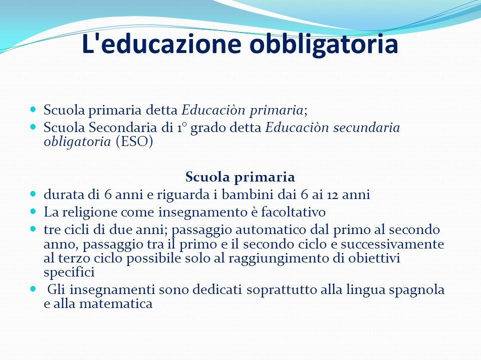 L'educazione obbligatoria Scuola primaria detta Educaciòn primaria; Scuola Secondaria di 1° grado detta Educaciòn secundaria obligatoria (ESO) Scuola