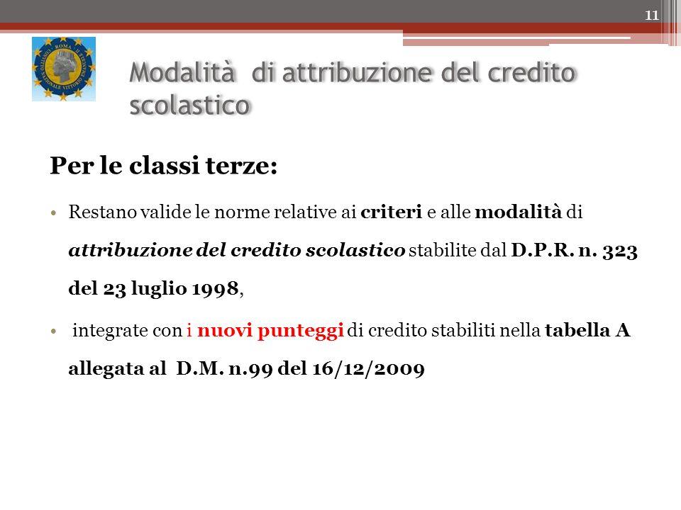Modalità di attribuzione del credito scolastico Per le classi terze: Restano valide le norme relative ai criteri e alle modalità di attribuzione del credito scolastico stabilite dal D.P.R.