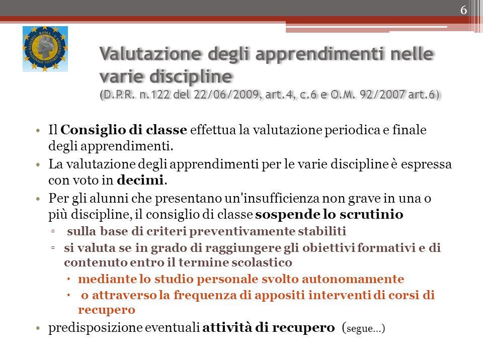 Valutazione degli apprendimenti nelle varie discipline (D.P.R.