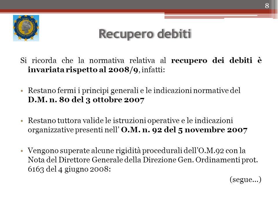 Recupero debiti Si ricorda che la normativa relativa al recupero dei debiti è invariata rispetto al 2008/9, infatti: Restano fermi i principi generali e le indicazioni normative del D.M.