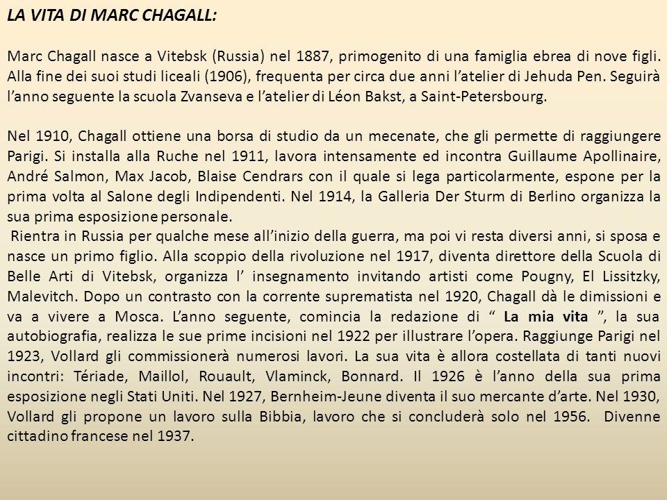 Durante l occupazione nazista in Francia, nella seconda guerra mondiale, con la deportazione degli Ebrei e l Olocausto, gli Chagall fuggirono da Parigi.