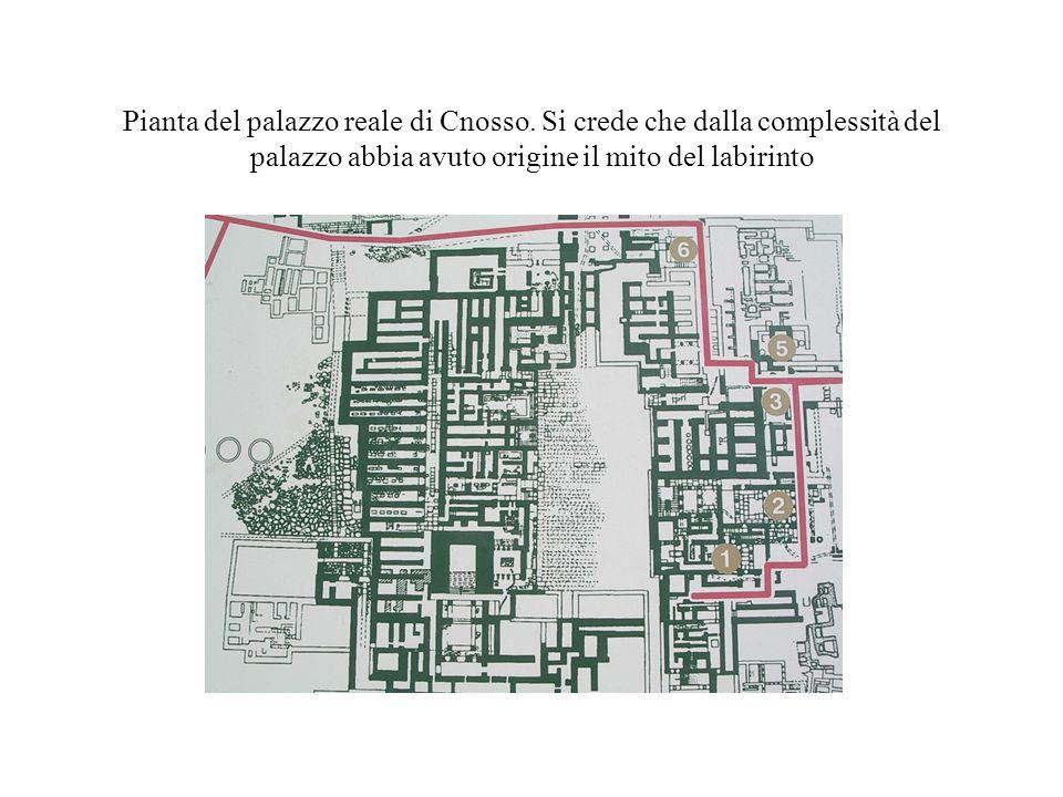 Pianta del palazzo reale di Cnosso. Si crede che dalla complessità del palazzo abbia avuto origine il mito del labirinto